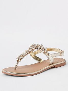 river-island-river-island-leather-embellished-sandal-gold
