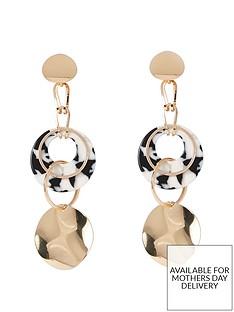 river-island-river-island-hammered-disc-drop-earrings-gold