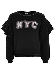 river-island-girls-nyc-frill-sleeve-sweatshirt-black
