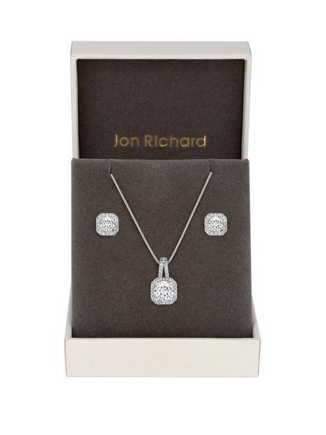 jon-richard-jon-richard-silver-plated-crystal-square-halo-pendant-and-earrings-set