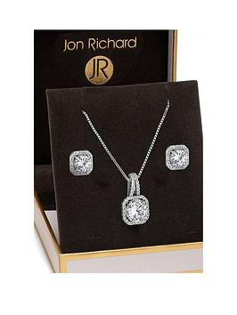 Jon Richard Jon Richard Jon Richard Silver Plated Crystal Square Halo  ... Picture
