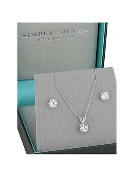 simply-silver-simply-silver-cubic-zirconia-classic-6mm-round-solitaire-pendant-and-earrings-set