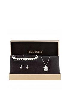 jon-richard-jon-richard-silver-pearl-and-crystal-cluster-pendant-bracelet-and-earrings-set