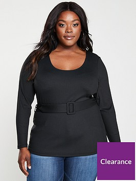 v-by-very-curve-belted-rib-top-black