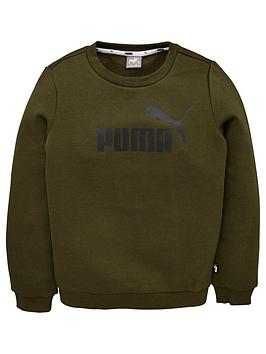 puma-essentials-logo-crew-sweat-khaki