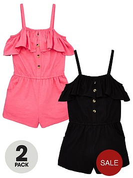 v-by-very-girls-2-pack-frill-button-detail-playsuitsnbsp--multi