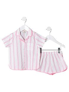 river-island-mini-mini-girls-stripe-woven-pyjama-set-pink