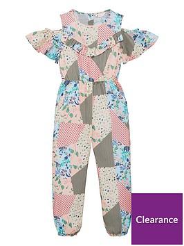 v-by-very-girls-cold-shoulder-patchwork-jumpsuit-pink