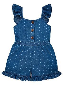 v-by-very-girls-denim-polka-dot-frill-detail-playsuitnbsp--blue