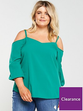 v-by-very-curve-cold-shoulder-blouse-green