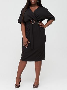 V by Very Curve V By Very Curve Jersey Wrap Pencil Dress - Black Picture