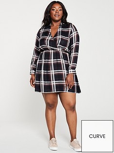 v-by-very-curve-wrap-front-printed-dress-check