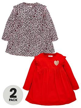 v-by-very-girls-2-pack-frill-leopard-dresses-multi