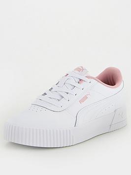 puma-carina-leather-childrens-trainers-whitepink