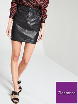 river-island-river-island-button-up-elasticated-waist-pu-skirt-black