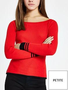 ri-petite-ri-petite-stripe-sleeve-detail-boat-neck-knit-jumper--red