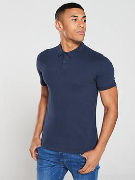 V by Very V By Very Collar Detail Jersey Polo Shirt - Navy Picture