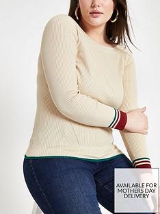 ri-plus-ri-plus-stripe-sleeve-detail-boat-neck-knit-jumper--cream