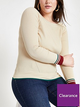 ri-plus-ri-plus-stripe-sleeve-detail-boat-neck-knit-jumper--cream