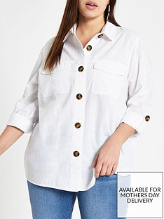 ri-plus-ri-plus-contrast-button-oversized-shirt--white