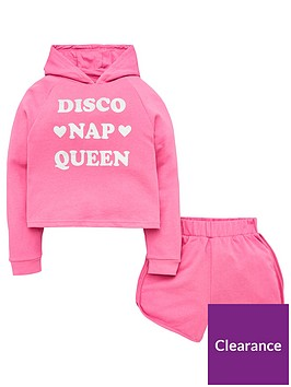 v-by-very-girls-disco-nap-queen-short-hoodienbsplounge-set-pink