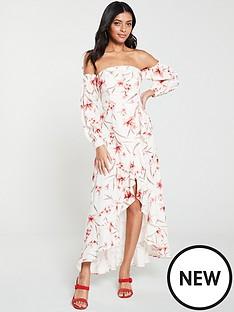 477da18c91ec4c V by Very Floral Off Shoulder Dipped Hem Maxi Dress - Print