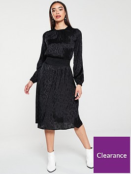 v-by-very-shirred-waist-jacquard-midi-dress-black
