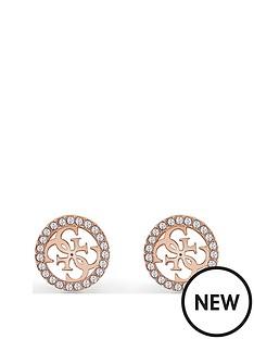 guess-guess-tropical-sun-rose-gold-crystal-set-logo-ladies-stud-earrings