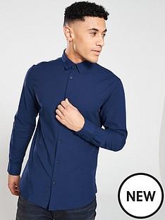 selected-homme-slim-linen-shirt-navy