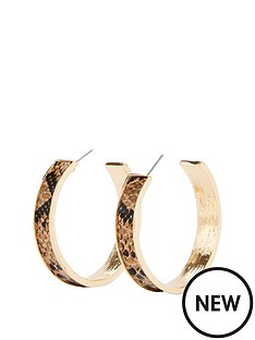 michelle-keegan-snake-print-hoop-earring-gold-snake