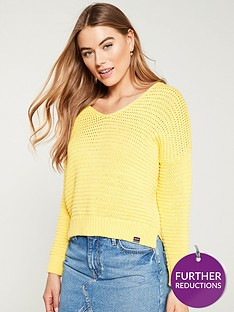 88997e192163c5 Superdry Eloise Textured Open Knit - Sunshine Yellow