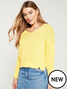 a29f644b78c Superdry Eloise Textured Open Knit - Sunshine Yellow