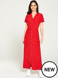 calvin-klein-jeans-smooth-button-down-dress-red