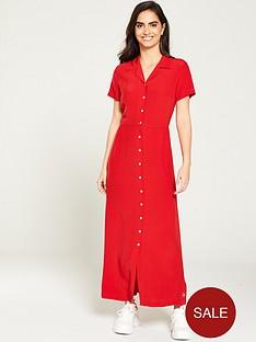 calvin-klein-jeans-smooth-button-down-dress-red
