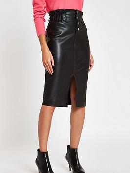 river-island-river-island-button-up-pu-midi-skirt-black