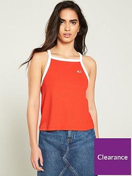 tommy-jeans-ribbed-racer-neck-vest-top-red