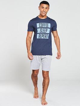 v-by-very-slogan-pyjama-jersey-short-set-navygrey