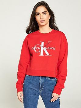 calvin-klein-jeans-boyfriend-crop-sweat-with-metallic-logo-red