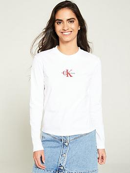 calvin-klein-jeans-embroidered-long-sleeve-t-shirt-white