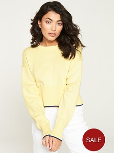 calvin-klein-jeans-cropped-crew-neck-sweatshirt-lemon