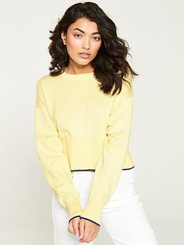calvin-klein-jeans-cropped-crew-neck-sweatshirt-lemon