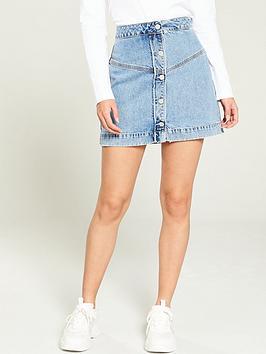 calvin-klein-jeans-button-front-denim-skirt-blue