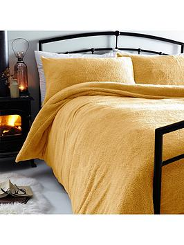 Silentnight Silentnight Teddy Fleece Duvet Cover Set - Ochre Picture