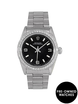 rolex-rolex-pre-owned-oyster-perpetual-black-369-dial-with-diamond-bezel-stainless-steel-bracelet-midsize-watch-ref-67480
