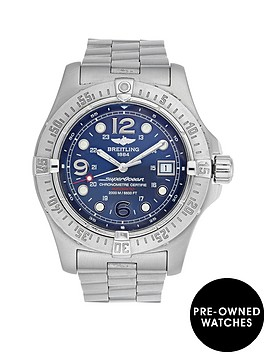 breitling-brietling-pre-owned-superocean-blue-dial-stainless-steel-bracelet-mens-watch-ref-a17390
