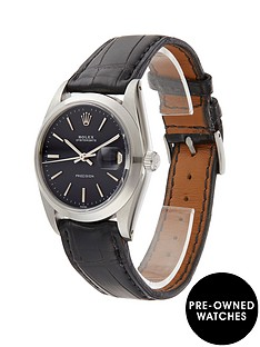 rolex-rolex-pre-owned-black-oyster-date-dial-black-leather-strap-mens-watch-ref-6694
