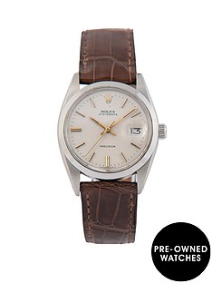 rolex-rolex-pre-owned-grey-and-gold-detail-oyster-date-dial-brown-leather-strap-mens-watch-ref-6694