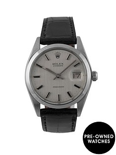 rolex-rolex-pre-owned-silver-oyster-date-dial-black-leather-strap-mens-watch-ref-6694