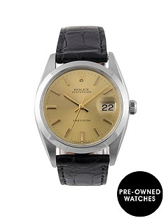 rolex-rolex-pre-owned-champagne-oyster-date-dial-black-leather-strap-mens-watch-ref-6694