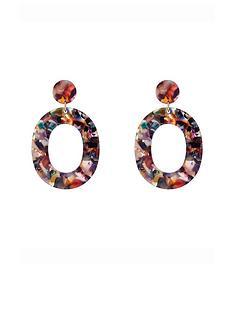 accessorize-resin-oval-link-earrings-multi